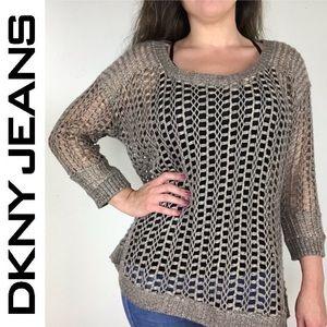 ❤️ DKNY Jeans metallic open knit mesh sweater top